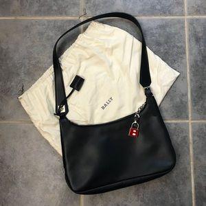 BALLY leather navy blue shoulder handbag padlock